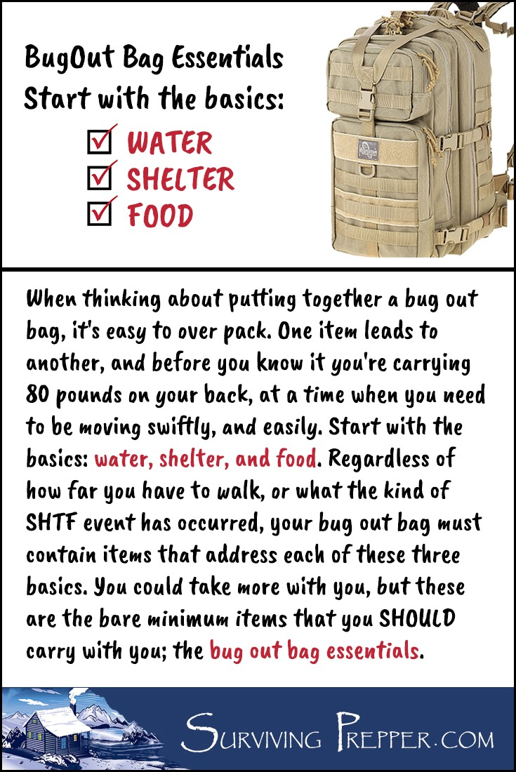 It's easy to get carried away when deciding on what should go in your bug out bag. Start with your bug out bag essentials: clean water, shelter, and food.