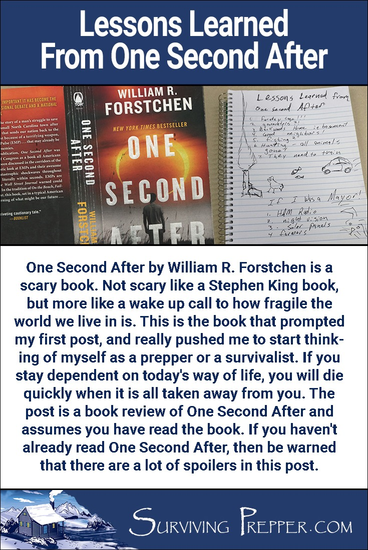 One Second After by William R. Forstchen is a scary book. Not Stephen King scary, but but a wake up call to how fragile our world really is.