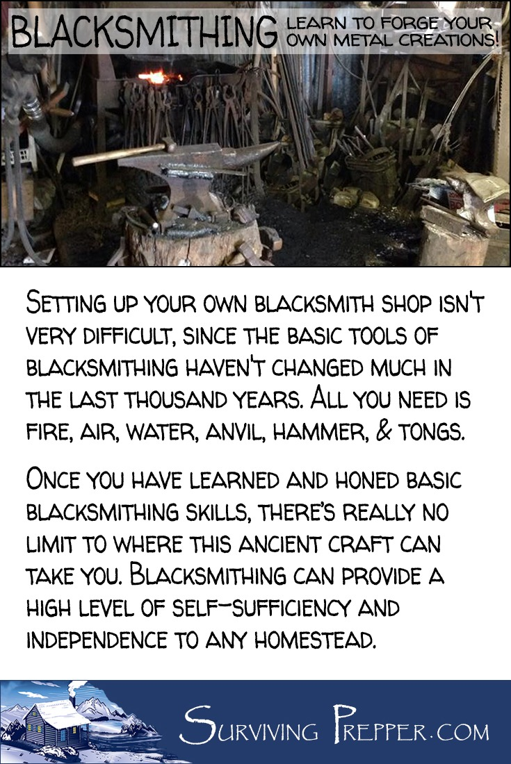 Setting up your own blacksmith shop isn't very difficult. All you need is fire, air, water, anvil, hammer, & tongs.