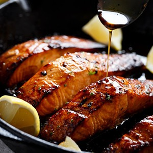 Grilled Honey and Browned Garlic Butter Salmon