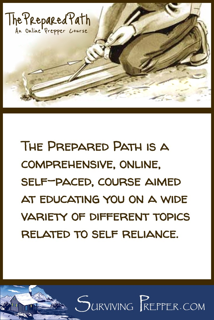 The PREPARED Path is an online, self-paced, comprehensive prepper course that will educate you on a variety of different self-reliance topics in 12 modules.