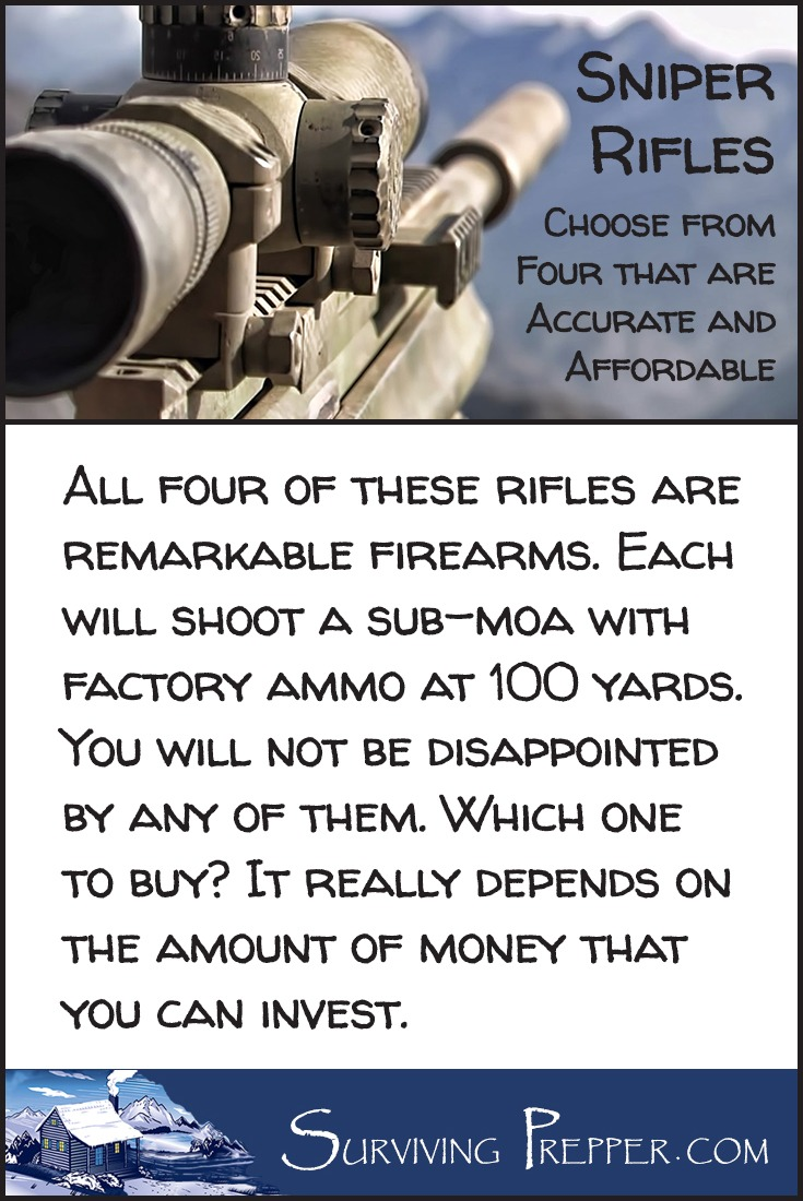 Each of these 4 accurate and affordable sniper rifles are remarkable firearms that will shoot a sub-MOA with factory ammo at 100 yards. Which do you prefer?