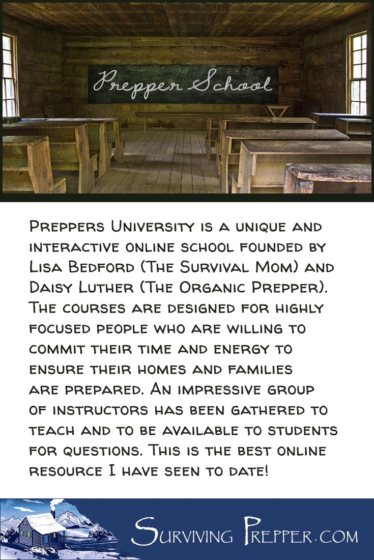 Founded by The Survival Mom and The Organic Prepper, Preppers University is an interactive online program designed to teach you how to be better prepared.