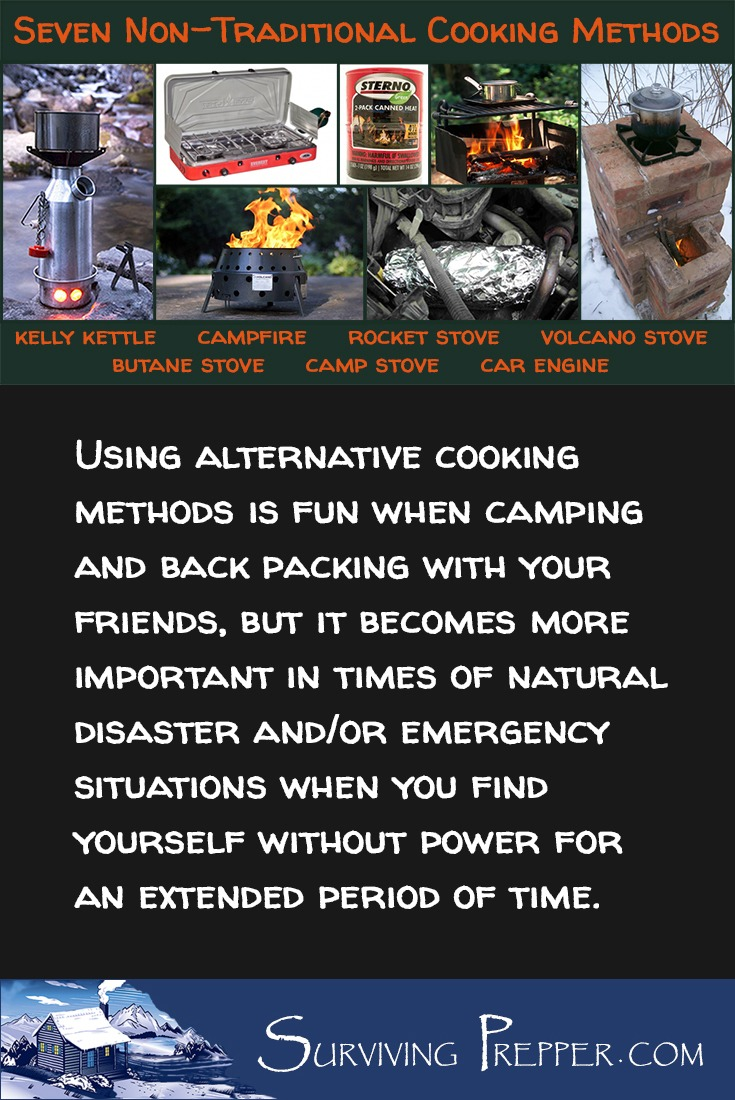 Using alternative cooking methods is fun when camping, but it becomes more important in times of natural disaster and/or emergency situations.
