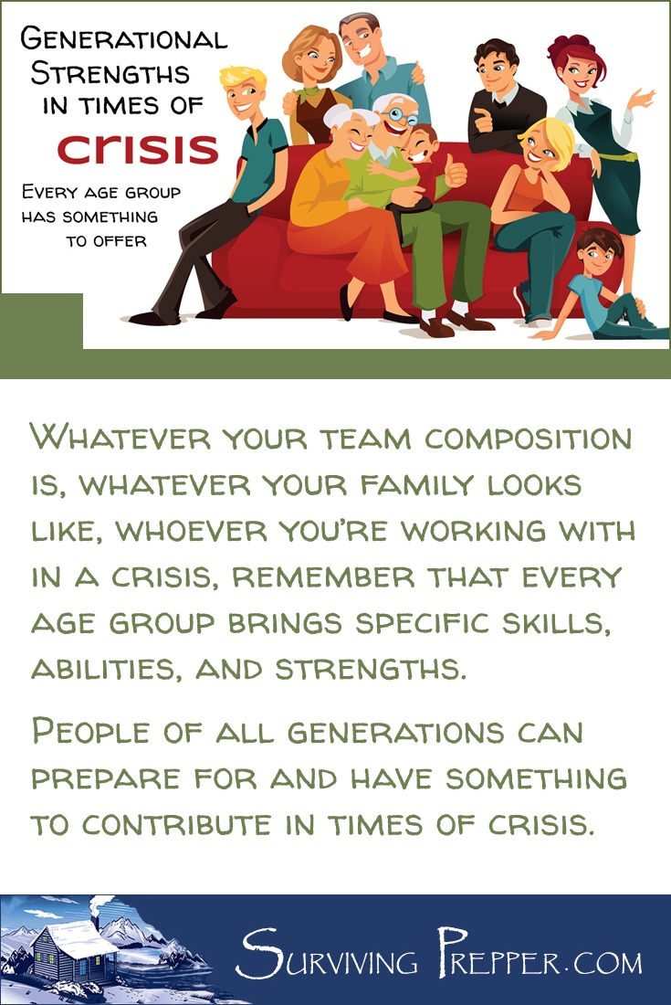 Have you considered what role your elderly parents will play if our society crumbles and circumstances require that you put your prepping skills to use? What about your children? How can they help? People of all ages can prepare for -- and contribute in times of crisis.